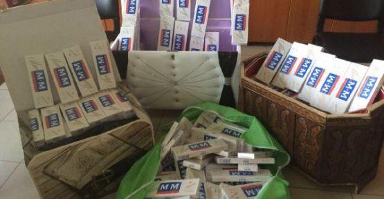 Çeyiz sandığında 3 bin 500 paket kaça sigara