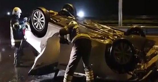 Dilovasında araç devrildi : 2 Yaralı