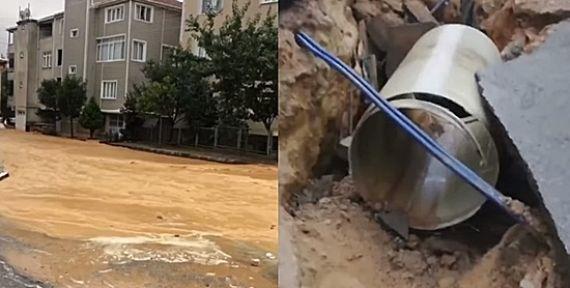Gebze'de Su boruları patladı, yol göçtü!