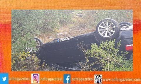 Kontrolü kaybeden araç takla attı!