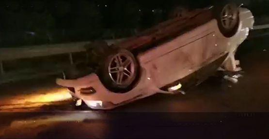 Refüje çarpan araç takla attı!