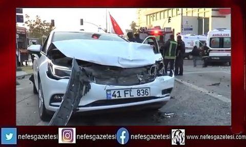 Santral yokuşunda vinç 4 otomobili biçti: 3 yaralı