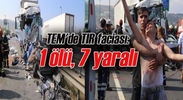 TEM'de TIR faciası: 1 ölü, 7 yaralı
