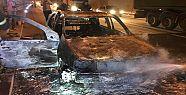 Gültepe Tünellerinde Otomobil Alev Aldı
