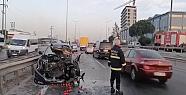 Otomobil ile sebze yüklü kamyonet çarpıştı:...