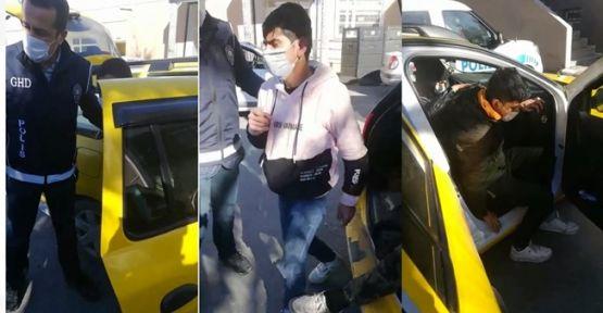 Ticari taksiden 9 kaçak göçmen çıktı!