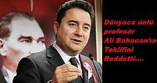 Ünlü profesör Ali Babacan'ın teklifini reddetti..