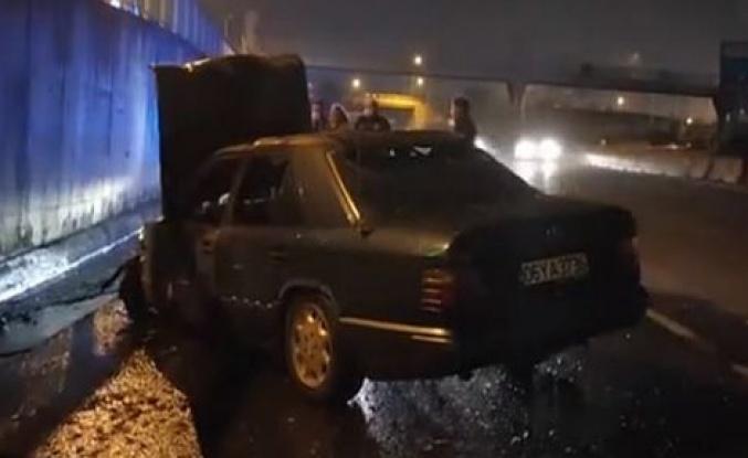İstinat duvarına çarpan araç yandı!